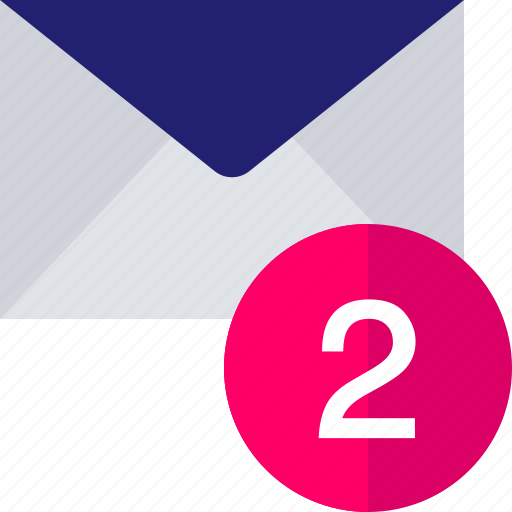 email, mail, notification, number, two icon