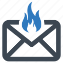 email, fire, mail icon