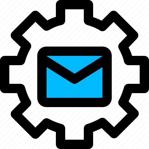 email, gear, message, settings icon