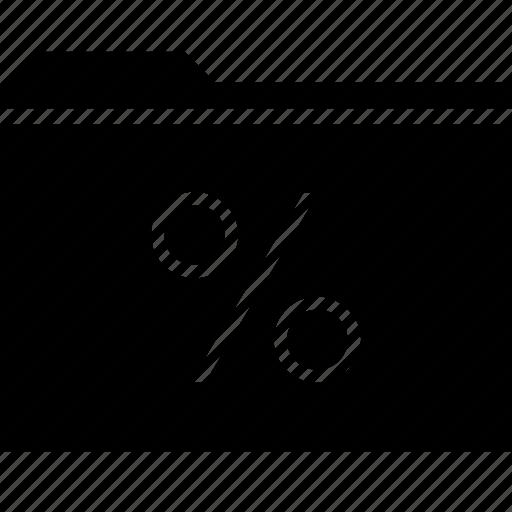 archive, folder, percent, rate icon