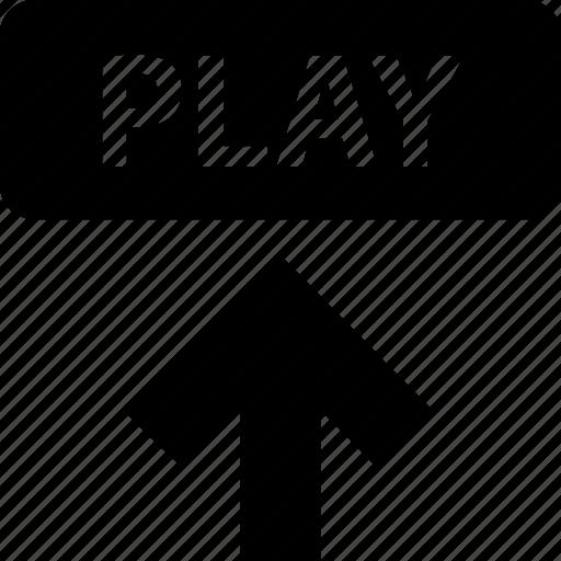 arrow, play, video icon