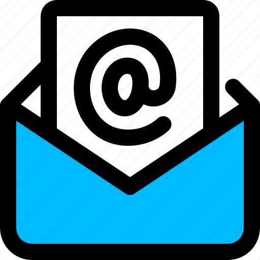 at, email, envelope, message, opened icon