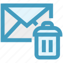 dustbin, email, envelope, letter, message, remove