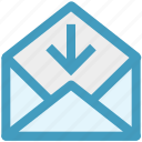 arrow, down, email, envelope, open, outbox