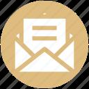 envelope, letter, mail, message, open envelope, sheet