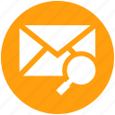 email, envelope, letter, magnifier, message, search icon