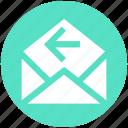 email, left arrow, letter, message, open, receive