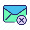 block, communication, delete, email, mail, message, remove icon