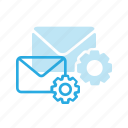 email, envelope, mail, message, settings icon
