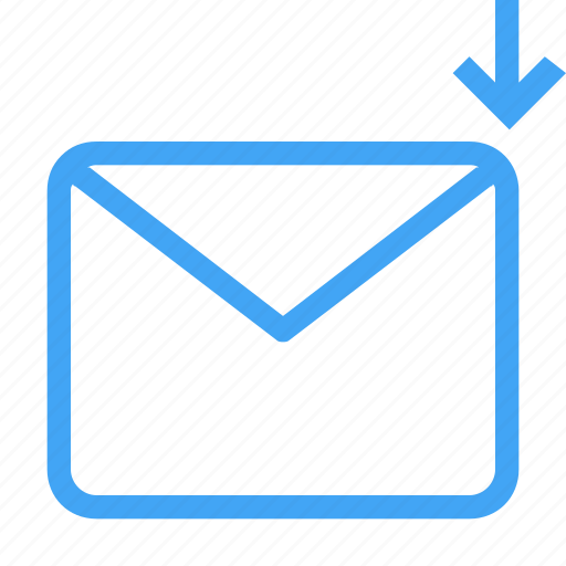 down, email, envelope, letter, mail, message icon