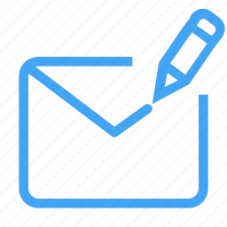 email, envelope, letter, mail, message, pencil icon