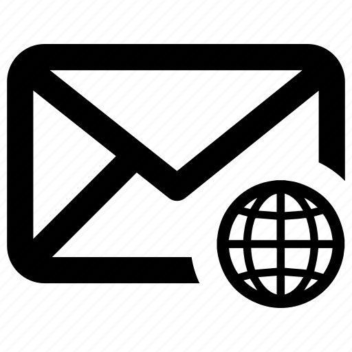 email, globe, international, network icon
