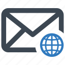 email, globe, international, network icon