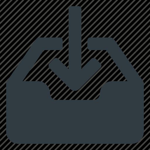 document, download, inbox, set icon
