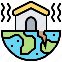 catastrophic, crack, disaster, earthquake, house icon