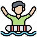 buoy, drowning, life, person, rescue icon