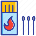 fire, fire stick, match box, safety, vaping icon
