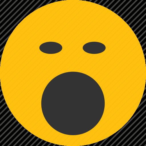 bored, emoji, mood, shouting, yawn icon