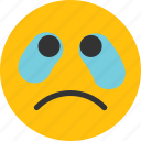 cry, cry emoji, crying, emoji, mood, sad icon