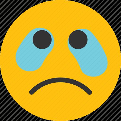 cry, cry emoji, crying, emoji, mood, sad icon
