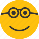 emoji, emoticon, mood, nerd, smart icon