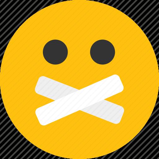 emoji, emoticon, mood, quiet, silent icon