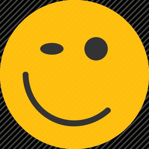 emoji, mood, wink, wink emoji, winking smiley icon