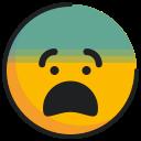 emoji, emoticon, face, fearful icon