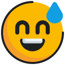 emoticon, face, grinning, sweat icon