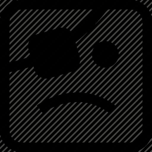 emoji, emotion, expression, pirate, sad icon