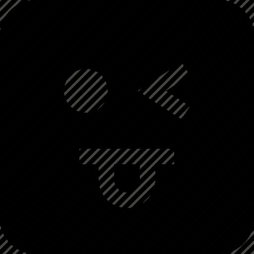 emoji, face, goofy, wink icon