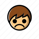 boy, down, sad, unhappy icon