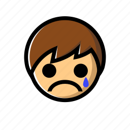 boy, cry, crying, down, sad, unhappy icon