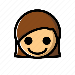girl, happy, joy, smile icon