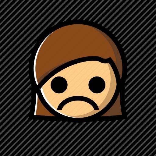 down, emotion, girl, sad, unhappy icon