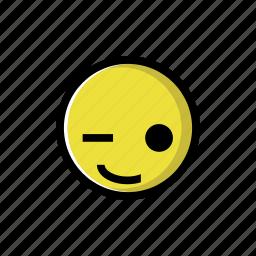 happy, smile, wink, yellow icon
