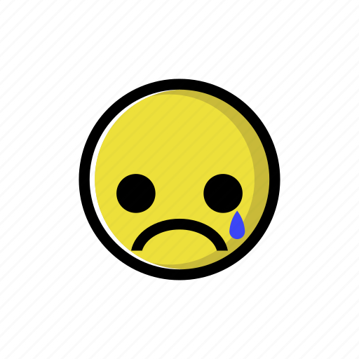 cry, crying, depressed, sad, tear, unhappy, yellow icon
