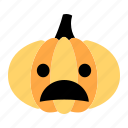 amazed, character, confused, emoji, expression, face, pumpkin