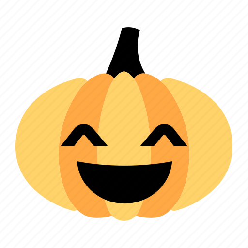 character, halloween, happy, laugh, pumpkin, smiley, wide smile icon