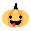 cute, emoji, happy, making faces, pumpkin, tease, tongue icon