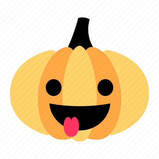 cute, emoji, happy, making faces, pumpkin, tease, tongue icon