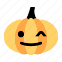 cute, emoji, halloween, happy, pumpkin, smile, wink icon