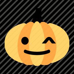 cute, emoji, halloween, happy, pumpkin, smile, wink icon