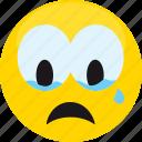 cry, emoji, emotion, expression, face, feeling, sad