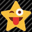 cartoon, cheeky, emoji, emotion, smiley, star, tongue