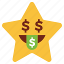 cartoon, dollar, emoji, emotion, money, smiley, star