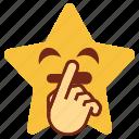 cartoon, emoji, emotion, hand, happy, smiley, star