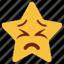 bemused, cartoon, character, emoji, emotion, star, upset