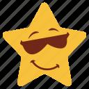cartoon, emoji, emotion, glasses, happy, smile, star