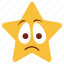bemused, cartoon, emoji, emotion, nodding, sad, star